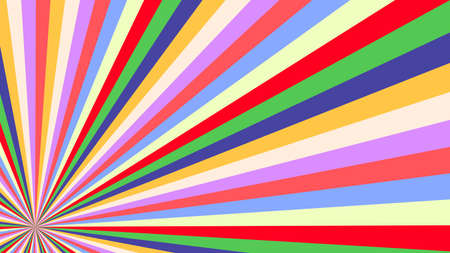 Ilustración de Abstract starburst background with yellow, purple, red, orange, green, blue rays. Banner vector illustration. - Imagen libre de derechos