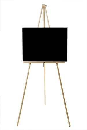 Blank canvas on an easel isolated on white with a clipping path.