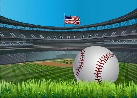 Baseball ball and Baseball stadium and a baseball diamond with green grass
