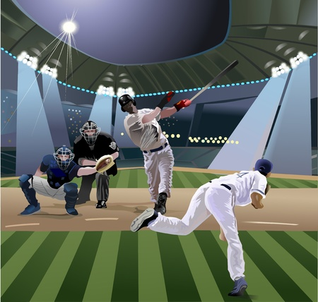 baseball players playing baseball in the stadium