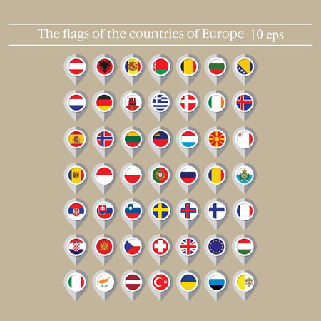 Illustration pour Map marker flags vector of the countries in flat style. - image libre de droit