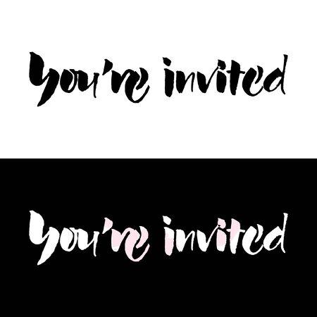 Illustration pour Script text wedding sign for your are invited - image libre de droit