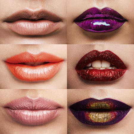 Photo pour Beauty collage.different lips and lipstick collage.Make-up of beautiful girls - image libre de droit