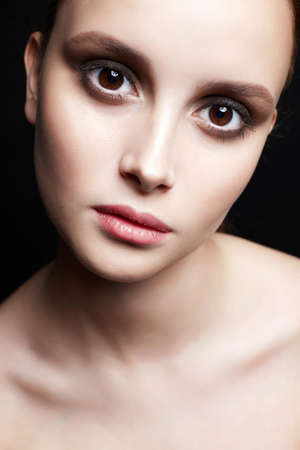 Photo pour beautiful girl with big brown eyes. young woman with clean skin face. Beauty Fashion Portrait - image libre de droit