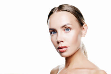 Photo for Beauty Woman face Portrait. Beautiful Spa model Girl with Perfect Fresh Clean Skin. Blonde female looking at camera and smiling. Youth and Skin Care Concept. Isolated on a white background - Royalty Free Image