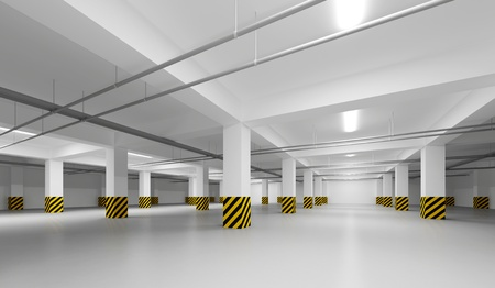Abstract empty white underground parking perspective interior