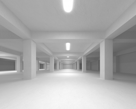 Perspective view of an abstract white empty underground parking interior