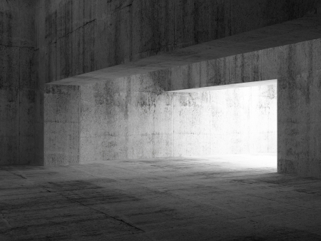 Abstract empty dark concrete interior. 3d illustration