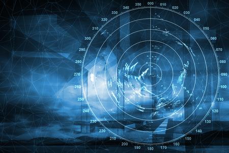 Photo pour Modern ship radar digital screen above blue abstract background - image libre de droit