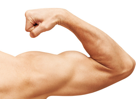Photo pour Strong male arm shows biceps. Close-up photo isolated on white - image libre de droit