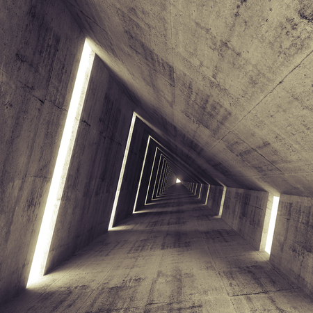 Photo pour Abstract empty dark concrete interior, 3d render of tunnel - image libre de droit