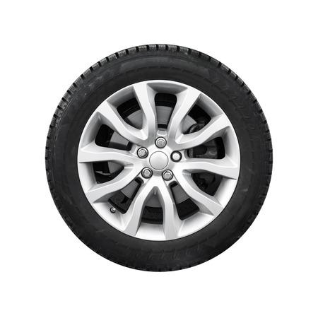 Photo pour New shiny automotive wheel on light alloy disc isolated on white background - image libre de droit
