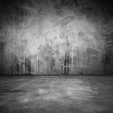 Abstract grungy square interior background with concrete floor and wall