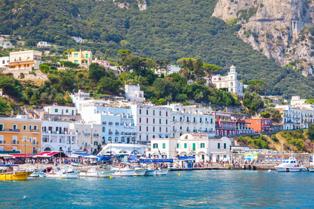 Capri, Italy - August 14, 2015: Main port of Capri island in a summer day, Italy, Tyrrhenian Sea, Bay of Naples