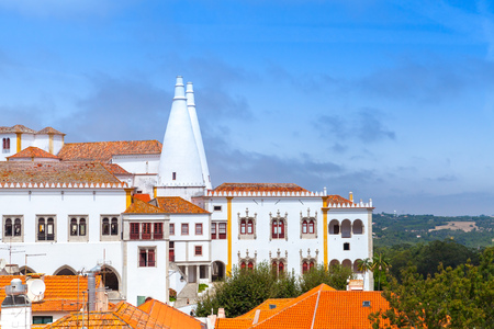 The Palace of Sintra in summer. Town Palace is located in Sintra, Lisbon District, Portugal