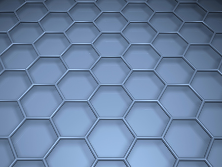 3d rendering abstract nanotechnology hexagonal geometric form close