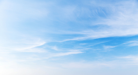 Photo for Blue sky with cirrus clouds at daytime, natural panoramic background photo - Royalty Free Image
