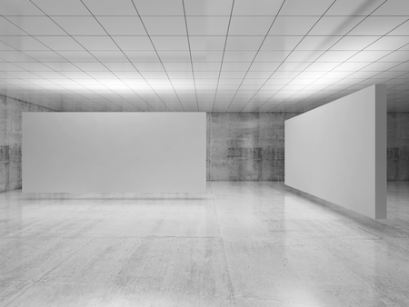 Foto de Abstract empty minimalist interior design, two white stands installation levitating in exhibition gallery with walls made of concrete and shiny ceiling. Contemporary architecture. 3d illustration - Imagen libre de derechos