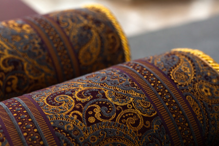 Photo for Rolled oriental carpets, close up photo with soft selective focus - Royalty Free Image