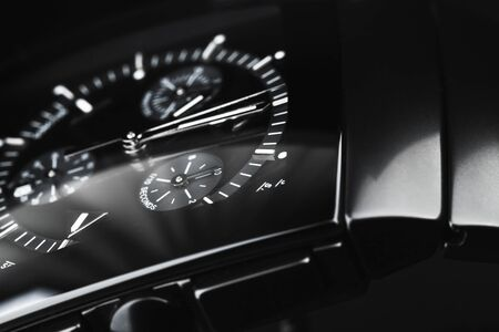 Photo for Luxury wrist watch made of black high-tech ceramics. Close-up studio photo with selective focus - Royalty Free Image