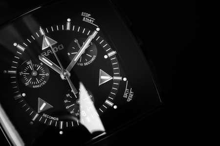 Photo pour St.Petersburg, Russia - June 18, 2015: Rado Sintra Chrono, luxury mens chronograph watch made of high-tech ceramics with sapphire glass over black background - image libre de droit