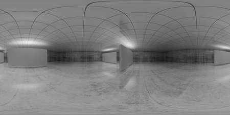 Photo for 360 degree spherical vr panorama. Abstract empty white interior with stands installation, HDRI seamless environment map of an exhibition gallery with walls made of concrete. 3d render illustration - Royalty Free Image