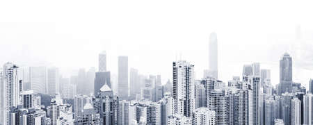 Photo pour Blue toned modern cityscape background, panoramic city photo with urban skyline at foggy day - image libre de droit