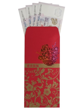 A red packet containing eight dollars isolated on a white background
