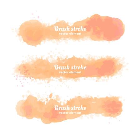 Illustration pour Vector Hand drawn watercolor elements set. Watercolor orange brush stroke - image libre de droit