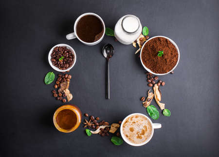 Photo for Mushroom Chaga Coffee Superfood Trend-dry and fresh mushrooms and coffee beans on dark background with mint. Coffee break - Royalty Free Image