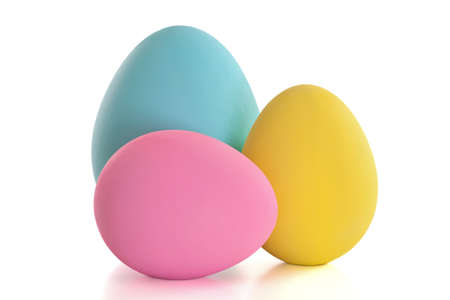 Colorful craft Easter eggs isolated on a white background