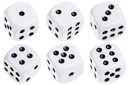 Six dice isolated on a white background