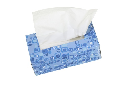 Blue box with facial tissues; isolated on white background