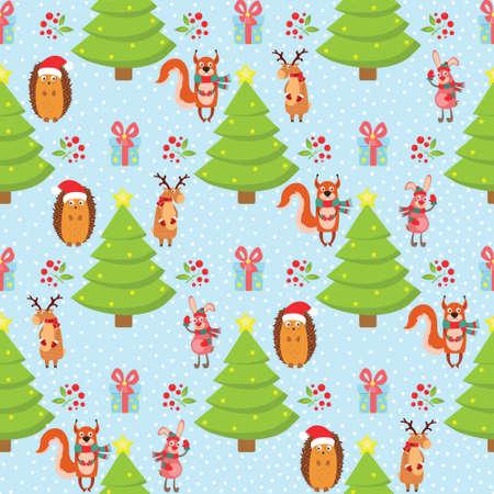 Christmas patr n on a blue background, hare, fox, hedgehog, deer. Vector illustration