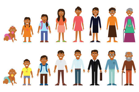 Illustration pour Set of african american ethnic people generations avatars at different ages. - image libre de droit