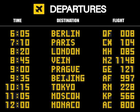 Illustration pour Airport scoreboard according to the mechanical schedule. Vector illustration. - image libre de droit