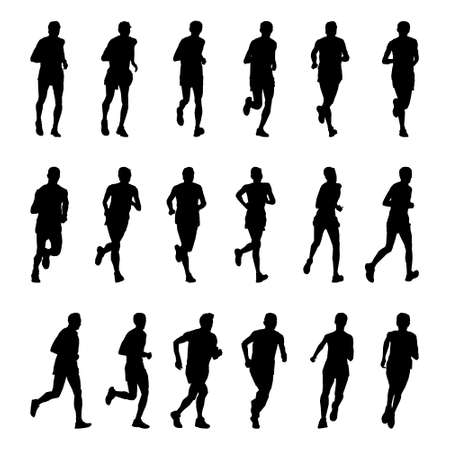 Illustration pour Vector drawing running athletes. Silhouettes on white background - image libre de droit