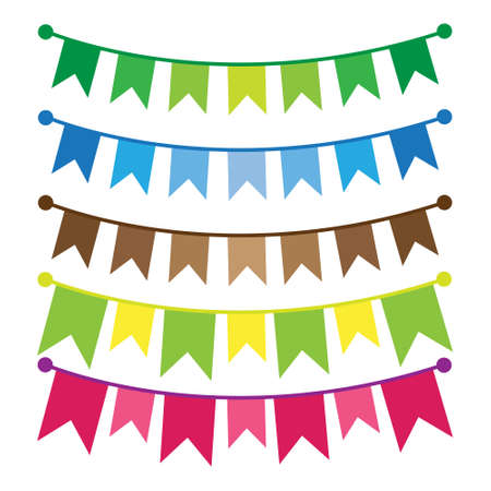 Illustration for Colorful bunting and garland set isolated on white. - Royalty Free Image