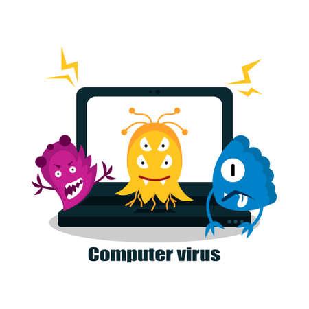 Illustration pour A computer virus attacks a laptop or computer. Vector illustration isolated on white background. - image libre de droit