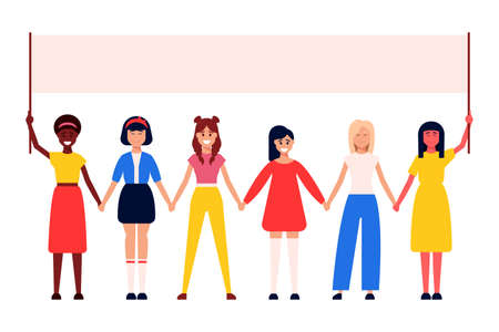 Illustration pour Diverse international and interracial group of standing women. For girls power concept, femininity and feminism ideas, women s empowerment, and role card design. - image libre de droit