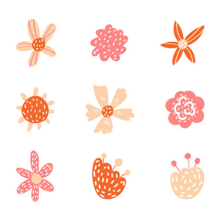 Illustration pour Vector floral in doodle style with flowers and leaves. Gentle, spring floral background. - image libre de droit