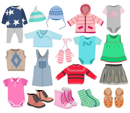 Illustration for Collection of fashionable children's clothing, vector illustration - Royalty Free Image