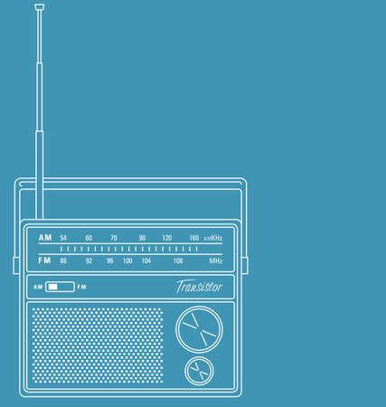 Vector line art illustration of a retro transistor radio.