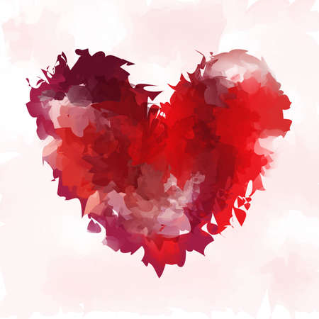 Heart vector in watercolor style. Background for Valentine