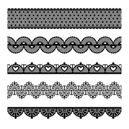 Set of lace trims  Elements can also be used as Illustrator brushes