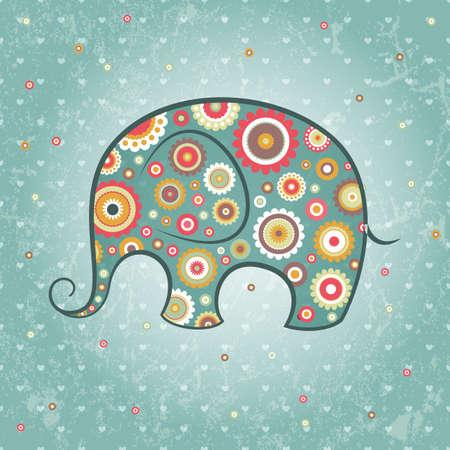 Ilustración de Abstract floral elephant on grunge backdrop, - Imagen libre de derechos