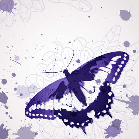 background with ink butterfly and space for text.