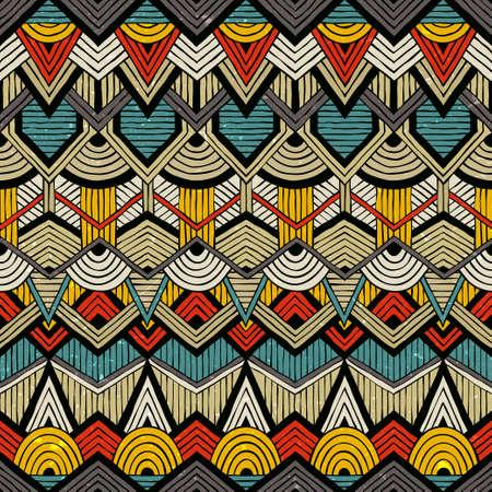 Ilustración de Colorful vector pattern in tribal style. Seamless hand-drawn background with grunge texture. - Imagen libre de derechos