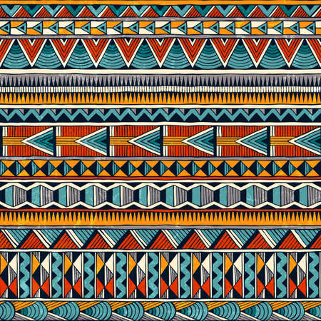 Illustration for Tribal seamless ornament in vibrant colors. Abstract background in african style. - Royalty Free Image