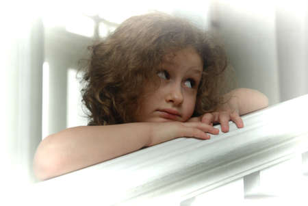 little girl, leaning one's elbows on rails